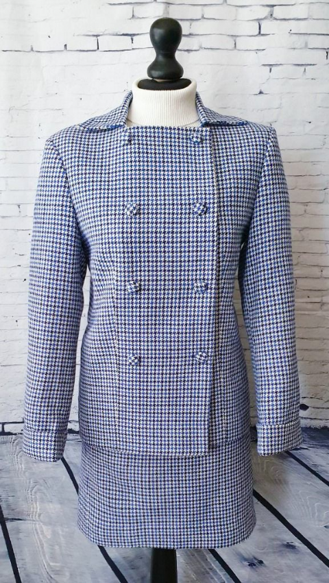 """Bridie"" Blue Dogtooth Double Breasted Suit"
